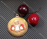 Новогодняя елочная игрушка деревянная (Шарик №57)