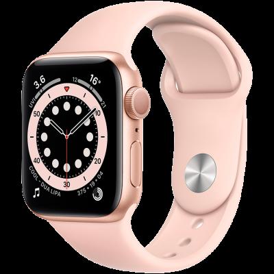 Watch Series 6, 44 мм, корпус из алюминия золотого цвета, спортивный ремешок цвета «розовый песок»