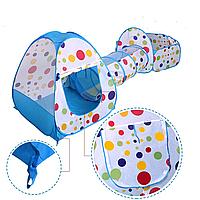 Детская палатка с тоннелем голубой/горох, фото 1