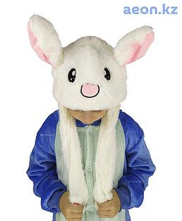 Шапочка Белый Зайка светящаяся с подвижными ушками