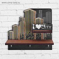 """Ключница деревянная с полкой """"My city"""""""