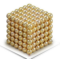 Магнитный Неокуб Золотой. Neocube. 216 шариков. Диаметр 5 мм. Головоломка. Конструктор. Антистресс.