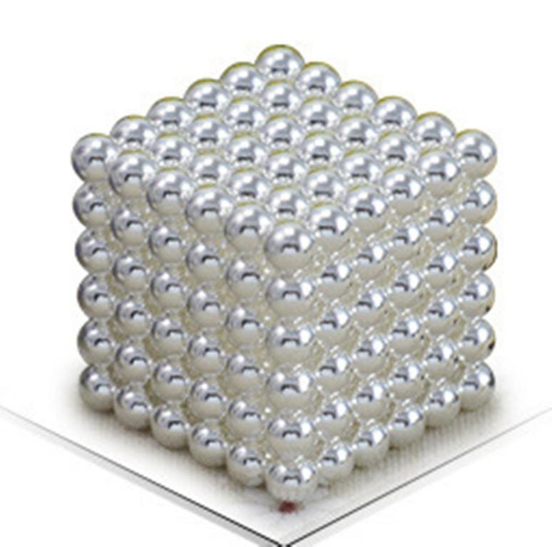 Магнитный Неокуб Серебряный. Neocube. 216 шариков. Диаметр 5 мм. Головоломка. Конструктор. Антистресс.