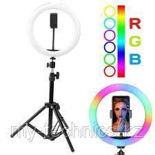 Разноцветная кольцевая лампа RGB MJ26 диаметром 26 см с держателем для телефона и штативом