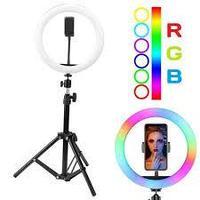 Разноцветная кольцевая лампа RGB MJ26 диаметром 26 см с держателем для телефона и штативом, фото 1