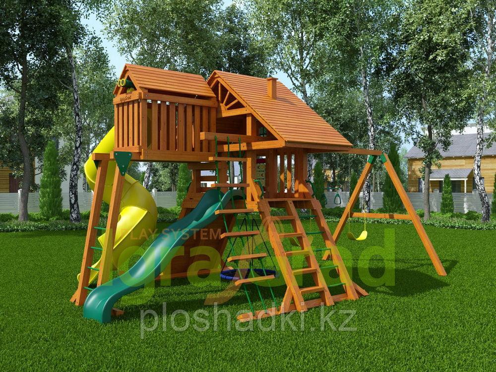 """Детская площадка IgraGrad """"Крепость Deluxe"""" 2 с веревочной лестницей, качелей, с горкой трубой."""