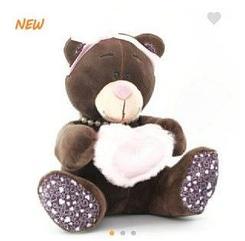 Мишка шоколадный с розовым сердцем 22см