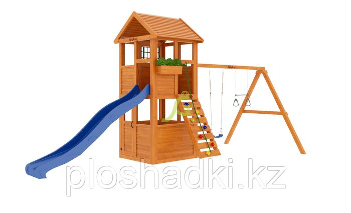 """IgraGrad """"Клубный домик"""" с деревянной кашпо, канатом, волновой горкой."""