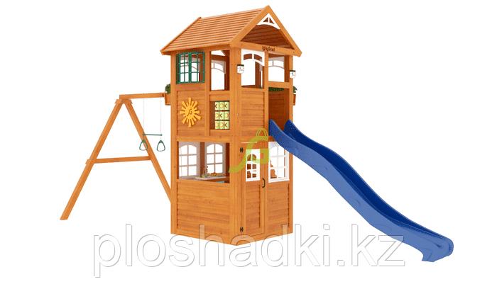 """IgraGrad """"Клубный домик"""" Luxe с деревянной лестницей, скалодромом, игровым столиком."""