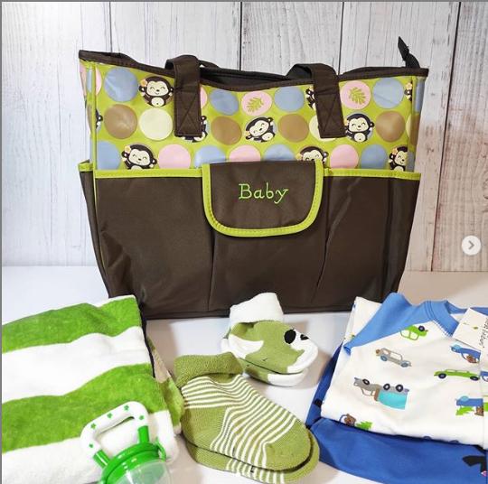 Сумка для мамы, цвет зеленый, с обезьянками