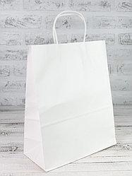 Белый бумажный крафт-пакет. 25*33*15 см