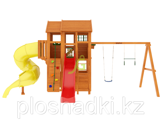 """IgraGrad """"Клубный домик 3 с трубой"""" с балконом, горкой-трубой, скалодромом, канатом."""