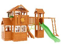 """IgraGrad """"Клубный домик Макси"""" Luxe домик с деревянной крышей, рукоходом, волновой горкой., фото 1"""