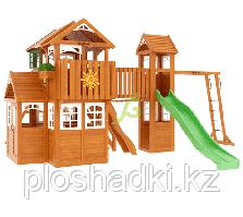 """IgraGrad """"Клубный домик Макси"""" Luxe домик с деревянной крышей, рукоходом, волновой горкой."""