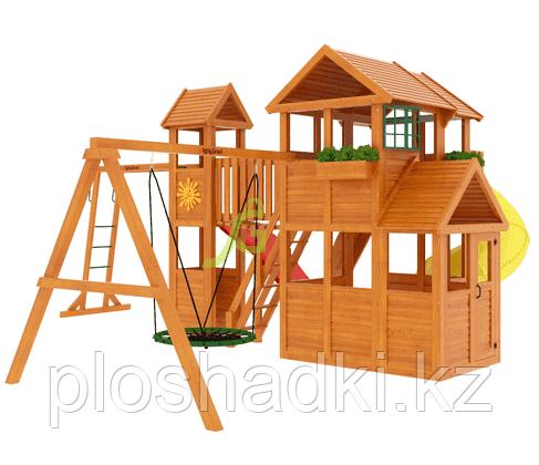 """IgroGrad """"Клубный домик макси с трубой"""" с волновой горкой, балконом, качелей."""