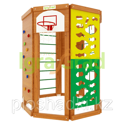"""Спортивный комплекс IgraGrad """"WorkOut"""" с баскетбольным кольцом, скалодромом, веревочной лестницей."""