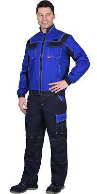 "Костюм ""Карат"" куртка, брюки васильковый с синим 80% х/б, МВО пл. 255 г/кв.м"