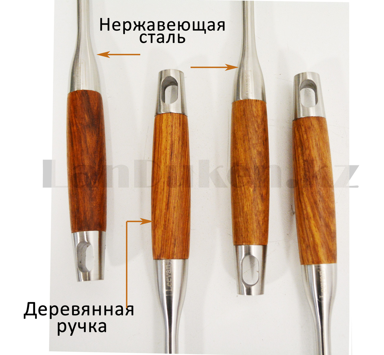 Набор кухонных аксессуаров 7 предметов из нержавеющей стали с деревянными ручками и с подставкой Leevan 8115 - фото 9