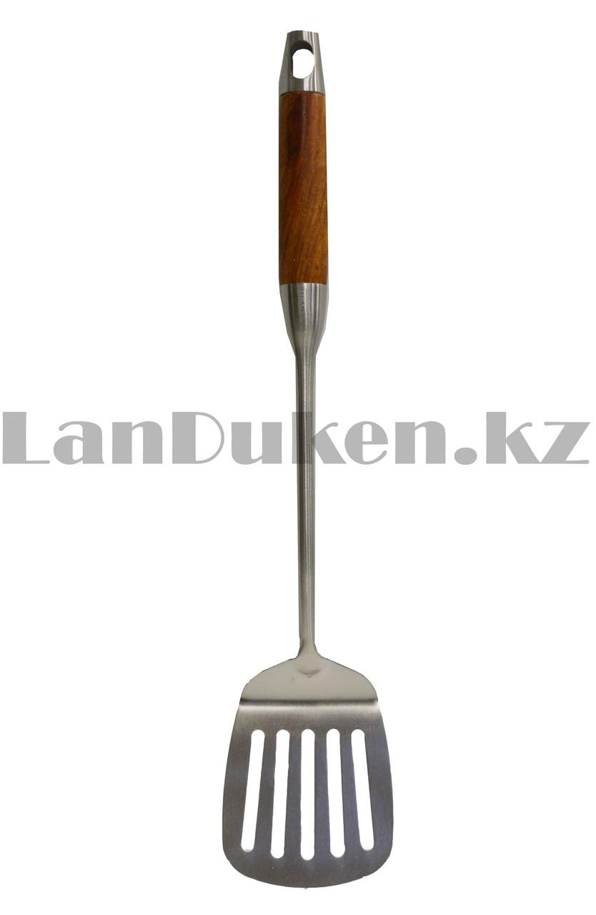 Набор кухонных аксессуаров 7 предметов из нержавеющей стали с деревянными ручками и с подставкой Leevan 8115 - фото 4