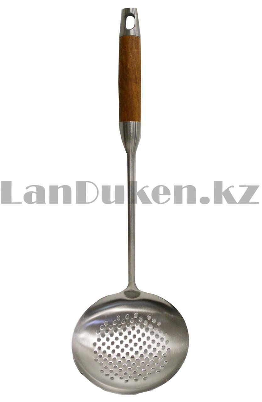 Набор кухонных аксессуаров 7 предметов из нержавеющей стали с деревянными ручками и с подставкой Leevan 8115 - фото 5