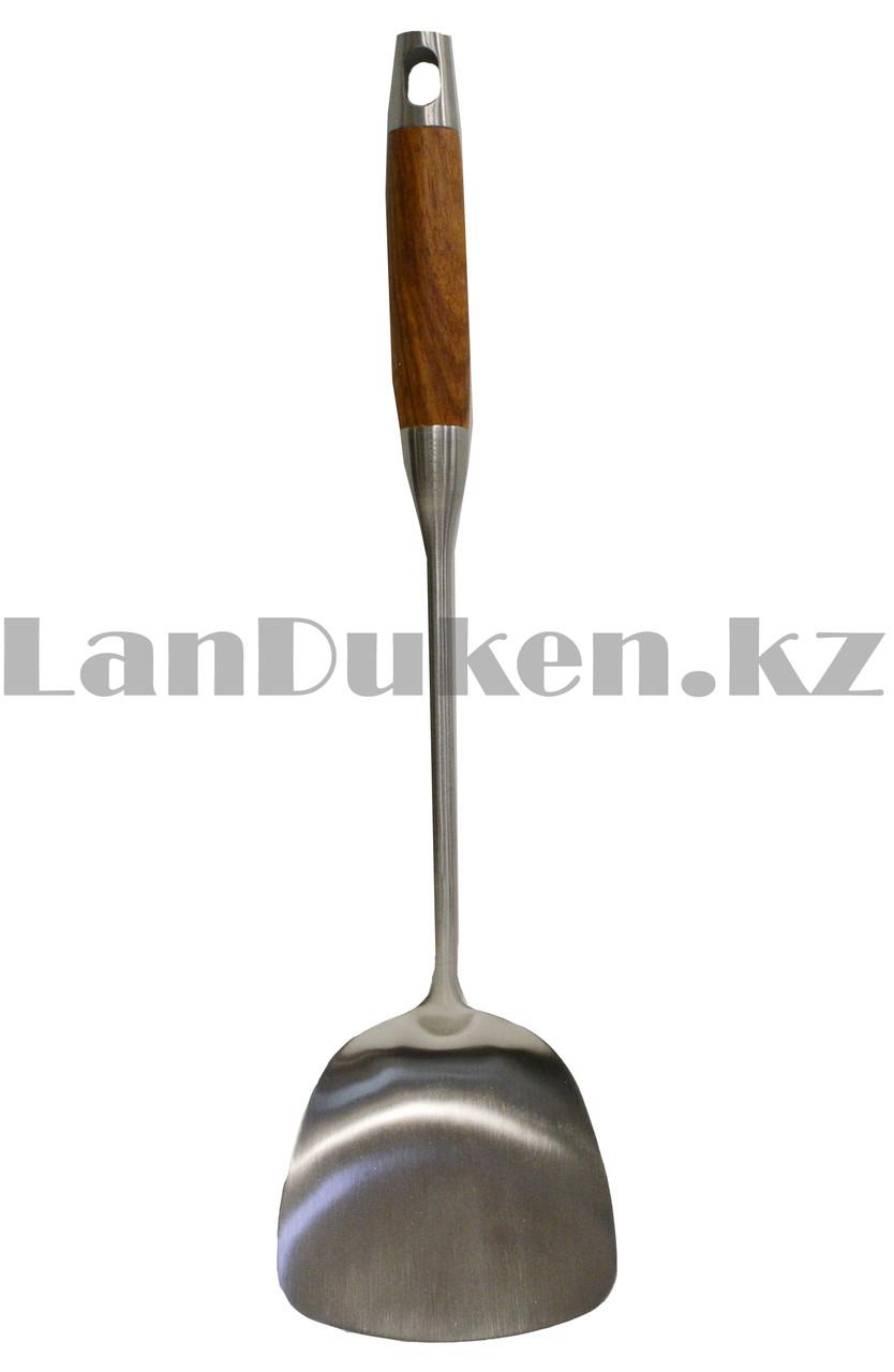 Набор кухонных аксессуаров 7 предметов из нержавеющей стали с деревянными ручками и с подставкой Leevan 8115 - фото 6