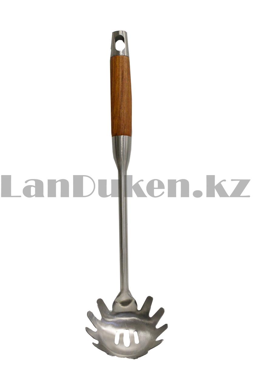 Набор кухонных аксессуаров 7 предметов из нержавеющей стали с деревянными ручками и с подставкой Leevan 8115 - фото 7