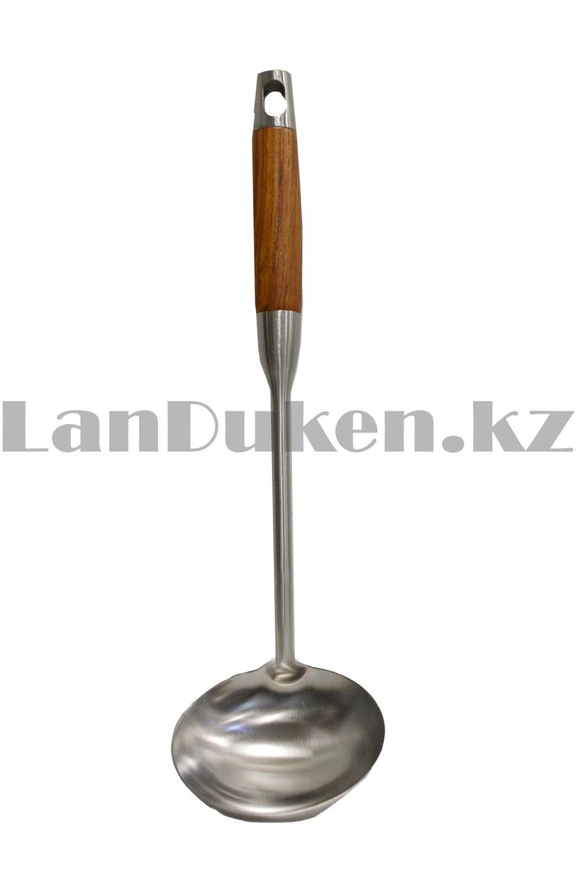 Набор кухонных аксессуаров 7 предметов из нержавеющей стали с деревянными ручками и с подставкой Leevan 8115 - фото 8