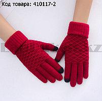 Перчатки для рук зимние сенсорные из овечьей шерсти красного цвета