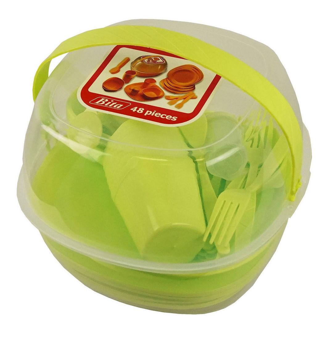 Набор пластиковой посуды для пикника 48 предметов. Черная пятница!