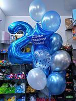 Цифра + 14 шаров в букете, фото 1