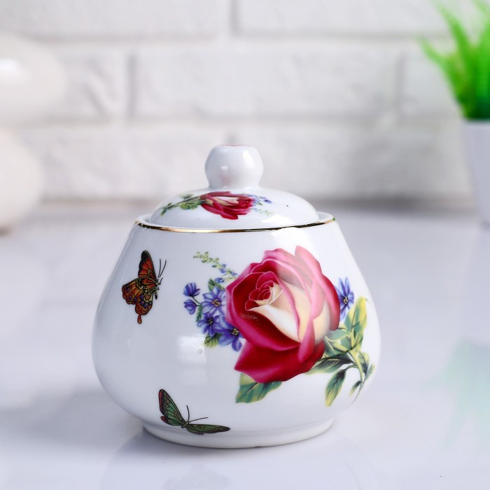 Сахарница «Роза», 10х х10х х10 см, керамика