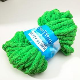 Пряжа фантазийная 100 полиэстер 'Softy plush maxi' 250 гр 22 м травяной зелёный - фото 2