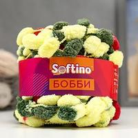 Пряжа фантазийная 100 полиэстер 'Softino Бобби' 150 гр 30 м меланж зелёно-жёлтый (комплект из 2 шт.)