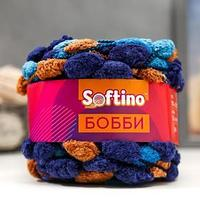 Пряжа фантазийная 100 полиэстер 'Softino Бобби' 150 гр 30 м меланж сине-голубой (комплект из 2 шт.)