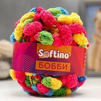 Пряжа фантазийная 100 полиэстер 'Softino Бобби' 150 гр 30 м меланж цветной (комплект из 2 шт.)