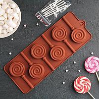 Форма для леденцов и мороженого «Леденец», 9,5×24 см, 6 ячеек , цвет МИКС