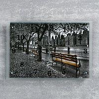 "Часы настенные прямоугольные ""Парк на набережной"", 25х35 см"