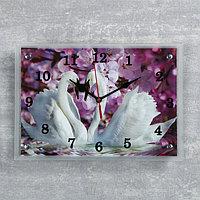"""Часы настенные прямоугольные """"Два лебедя, сиреневые цветы"""", 25х35 см"""