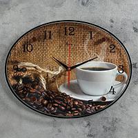 """Часы настенные, серия: Кухня, """"Кофе, зерна"""", 35х46 см"""
