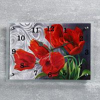 "Часы настенные, серия: Цветы, ""Красные тюльпаны"" 25х35 см, микс"