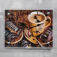 """Часы настенные, серия: Кухня, """"Кофе с пирожным"""", 20х25 см, микс"""