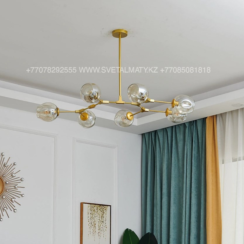 Люстра Молекула золотая на 7 ламп