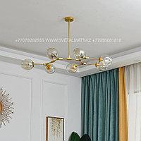 Люстра Молекула золотая на 7 ламп, фото 1