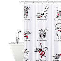 Tatkraft FUNNY CATS Тканевая штора для ванной комнаты с кольцами (12 шт), 180х180 сm 14664