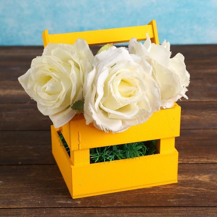 """Кашпо деревянное 12×11×9 см """"Однушка Лайт"""", двухреечное, жёлтый Дарим Красиво"""