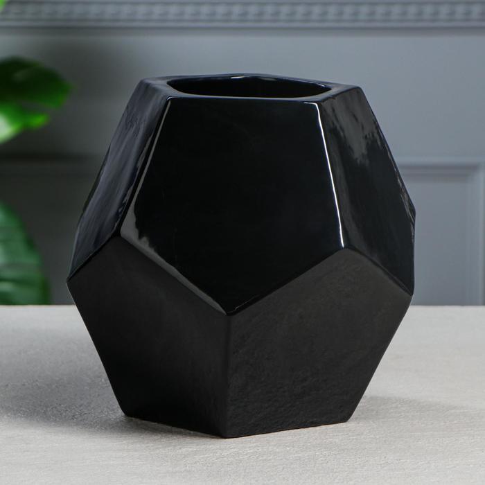 """Кашпо """"Вазочка"""", цвет черный, 21 см"""