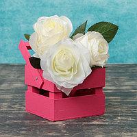 """Кашпо деревянное 12×11×9 см """"Однушка Лайт"""", двухреечное, розовый Дарим Красиво, фото 1"""