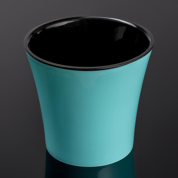 Кашпо со вставкой «Арте», 2 л, цвет мятно-чёрный