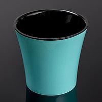 Кашпо со вставкой «Арте», 2 л, цвет мятно-чёрный, фото 1