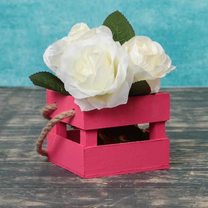 """Кашпо деревянное 12×11×9 см """"Однушка Лайт"""" реечное, ручка верёвка, розовый Дарим Красиво"""
